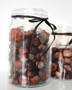 DIY Kastanien Deko | Herbstdekoration | was eigenes Blog: Kastanien im Glas mit Teelicht