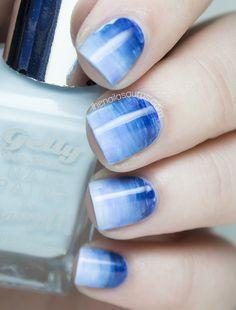 Blue Watercolor Gradient Nail Art | The Nailasaurus | UK Nail Art Blog
