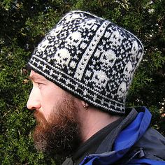 """Adrian says: """"The man in the photo, Mr. HelloYarn, has a 23"""" head, measured where the base of the hat sits. This allows 2"""" of negative ease for the hat, so that it doesn't stretch out and get too loose after a bit of wear. I have, however, been very sure when knitting to leave nice, long floats when switching colors, which leaves the fabric with good stretch. If you are new to color knitting, be sure to spread the stitches on your right hand needle out before you make a stitch in a new ..."""