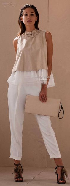 Bruno Cucinelli combines sporty & feminine & uses the finest fabrics enhanced with creative textures; Love Fashion, Runway Fashion, Womens Fashion, Fashion Design, Chic Outfits, Summer Outfits, Fashion Outfits, Fashion Clothes, Casual Chique