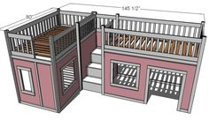 awesome play house bed for the girls---can i get the hubby to build it???