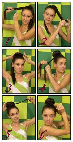 sock bun with wrap around braid. how to do sock bun: http://www.youtube.com/watch?v=hfMlMhSACCE