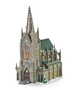 """Department 56 Christmas In The City? Series Cathedral Of St. Nicholas The intricate detailing and touches of pearlized paint make the """"Cathedral Of St. Department 56 Christmas Village, Christmas Village Houses, Christmas Villages, Putz Houses, Cathedral City, Barcelona Cathedral, Halloween Labels, Spooky Halloween, Vintage Halloween"""
