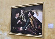 """Rome, Italy: new pieces by Italian artist Sirante who depict Italian current politicians. The murals, created with polemical intent, associates them to a painting by Caravaggio entitled """"I ba… Bari, Caravaggio, Museum Of Modern Art, Urban Art, Pop Culture, Opera, Graffiti, Painting, Italian Artist"""
