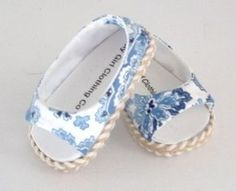 Love these simple open-toe blue and white sandals - $10