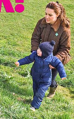 Princess Kate with Prince George just a few days before she gave birth to little Princess of Cambridge on 2nd May 2015