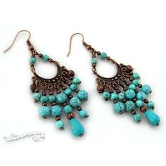 Scilla Turquoise Bohemian Chandelier Earrings, Boho Gypsy gift for her... ($14) ❤ liked on Polyvore featuring jewelry, earrings, earring jewelry, bohemian style earrings, boho earrings, beaded jewelry and turquoise jewelry