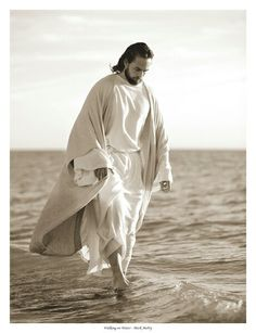 Christ walking on water, by Mark Mabry