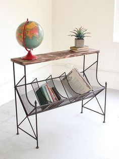 Wire Wood Book Console Table | Brickell Collection Furniture