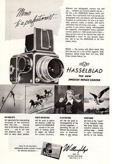 Vintage Willoughby's Hasselblad photography advertisement from National Geographic
