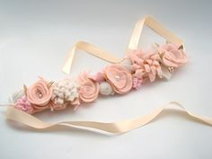 Boho Flower Crown Ligh Pink Nude and Cream Felt by VictoriasClass