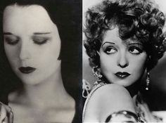 1920s Makeup: dark lips and kohl eyes.  A guide to how to create this look can be found here:  http://www.collegefashion.net/beauty-and-hair/beauty-by-the-decade-the-1920s/