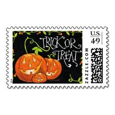 Halloween Trick or Treat Pumpkin and Candy Corn Postage Stamps http://www.zazzle.com/halloween_trick_or_treat_pumpkin_and_candy_corn_postage-172709964217858540?rf=238312613581490875