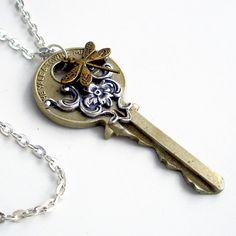 Recycled Key Necklace Handmade Jewelry Key Dragonfly Pendant - Flying Home Dragonfly Pendant, Key Pendant, Pendant Jewelry, Handmade Knives, Handmade Soaps, Oyin Handmade, Handmade Rugs, Handmade Crafts, Key Crafts
