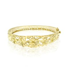 Queen Plumeria Bangle in 14K Yellow Gold