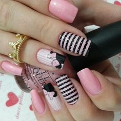 Try some of these designs and give your nails a quick makeover, gallery of unique nail art designs for any season. The best images and creative ideas for your nails. Pink Nail Art, Acrylic Nail Art, Acrylic Nail Designs, Pink Nails, My Nails, S And S Nails, Disney Nail Designs, Nail Art Designs 2016, Cute Nail Designs