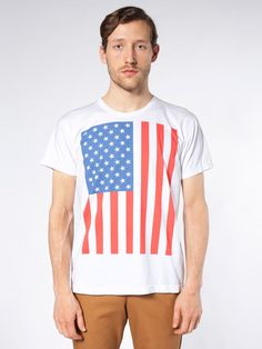 Screen Printed Power Washed Tee-US Flag Vertical   Novelty T-shirts   New & Now's Men   American Apparel