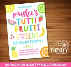 Printable Tutti Frutti Birthday Invitation | Tootie Frootie, Tuity Fruity, Two-ti | Fruit | Pineapple, Watermlon, Lemon, Cherry, Banana | Little Girls Summer Birthday Party | Digital File | Kids Birthday Party Idea or any event | Baby Shower | Bridal Shower | FREE thank you card | Party Package Available | Banner | Cupcake Toppers | Favor Tag | Food and Drink Labels | Signs | Candy Bar Wrapper | www.dazzleexpressions.com