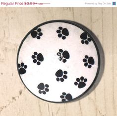 Dresser Drawer Pull - Puppy Dog Paw Prints - Black and White, Animal Lover - Treat Cabinet, Knob, Door, Cabinet, Dresser 215A25