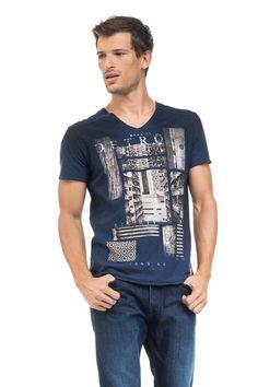 T-shirt 1St Level slim fit com estampado e com pormenores na gola