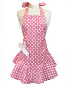 a Jessie Steele pink polka dot apron