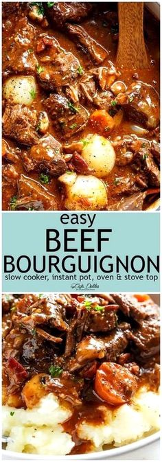Tender fall apart chunks of beef simmered in a rich red wine gravy makes julia child s beef bourguignon an incredible family dinner slow cooker instant pot pressure cooker stove top and the traditional oven method included easy to make every step is worth Beef Bourguignon Slow Cooker, Beef Stew Slow Cooker, Pressure Cooker Recipes Beef, Pressure Cooker Beef Stew, Beef Burgundy Slow Cooker, Slow Cooker Dinners, Instant Pot Beef Bourguignon Recipe, Slow Cooker Recipes Family, Beef Meals