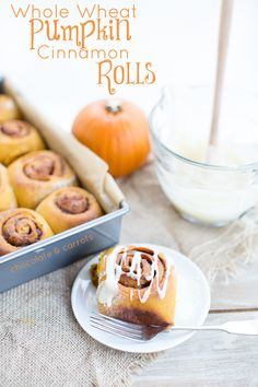 Whole Wheat Pumpkin Cinnamon Rolls | chocolateandcarrots.com #breakfast #fall
