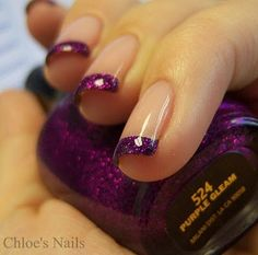 Purple french manicure funky nails, love nails, pretty nails, my Purple French Manicure, Glitter French Tips, French Tip Nails, French Manicures, Fancy Nails, Pretty Nails, Hair And Nails, My Nails, Chloe Nails