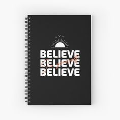 'Believe In Yourself Inspirational Typography Design' Spiral Notebook by Notebook Design, My Notebook, Typography Inspiration, Typography Design, Believe In You, Spiral, Inspirational, Artists, Group