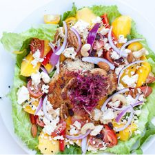 CHICKEN & MANGO SALAD   You'll need: 2 chicken breasts  Sea salt, black pepper & cayenne pepper  Cocktail tomatoes  Fresh lettuce  1 mango  1 red pepper  1 red onion  Camembert cheese  Feta cheese (plain)  Mixed nuts with raisins (raisins optional)  Mixed sprouts  Salad dressing of your choice