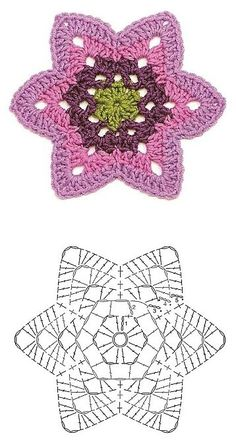Transcendent Crochet a Solid Granny Square Ideas. Inconceivable Crochet a Solid Granny Square Ideas. Crochet Doily Diagram, Crochet Diy, Crochet Motifs, Crochet Flower Patterns, Crochet Crafts, Crochet Doilies, Crochet Flowers, Crochet Stitches, Crochet Projects