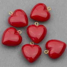 Vintage Red Acrylic Puffy Heart Pendants by EcoCywinskiDesign