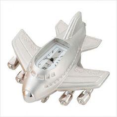 Chass Mini Jumbo Jet Clock in Silver - 883-364