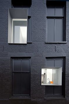 | ARCHITECTURE | Design by architect Zwarte Parel, client Studio Rolf.fr in collaboration with Zecc Architects. The world might hate me if I was in charge of selecting colours for exteriors ... my perfect world is black & white with all the shades of gray in between. I love repurposed exteriors, a creative way of cleaning up a heritage exterior while celebrating the history, the present meets this exterior envelope with carefully placed yet not so perfect window openings. #black…