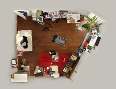 """A German photographer, Menno Aden, created an unusual series of photographs titled """"Room Portraits"""". He showed an uniqueness of the shootings in an unusual point from which the survey was done - the ceiling. Through challenging camera angles, Menno Aden abstracts most familiar actual living environments and public interiors into flattened two-dimensional scale models. His portraits deliver strong message that hints at society's voyeuristic urge that popular culture has made mainstream."""