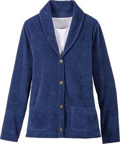 Womens Ribbed Velour Cardigan | Shawl Collar Sweater