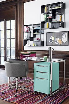 Tip #5 If you have a home office, chances are, you're not using the space under your desk to the fullest. Why not make the most of that unused square footage by adding a sleek, colorful filing cabinet? Bonus: It keeps all the clutter off your desk, which will make it — dare we say it? — downright enjoyable to sit down and work. CB2 TPS Aqua File Cabinet, $159, available at CB2.