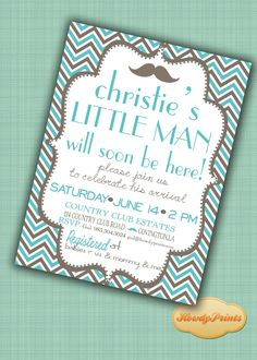 Baby Boy Shower Invitation,Blue Baby Shower Invite,Grey Chevron Pattern,Mustache Shower Invitation, 403