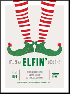 Christmas Invite,elf, pun