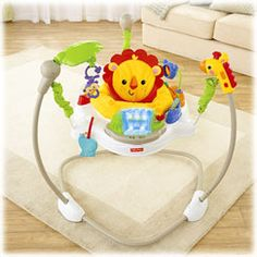 There's so much for baby to discover on this jumperoo – music, lights and exciting sounds reward baby with every jump! A rotating seat gives baby 360° access to toys and activities all around, including a light-up waterfall, spinners, bead bar, roll
