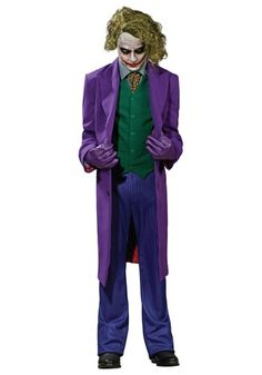 This grand heritage Joker costume is from the Batman Dark Knight movie and is an authentic Batman costume for Halloween for a low price for any event.
