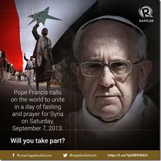 Pope Francis pleads for peace.  Let us join him in fasting and prayer on Saturday, September 7.