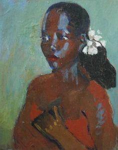 woman with white flowers in hair — Geoffrey HolderMujer con flores blancas en el pelo - Geoffrey Holder