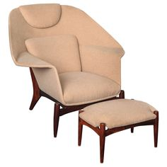 de61348c50df Unattributed Palisander Upholstered Lounge Chair and Ottoman ca.1955