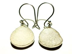 White Druzy and Sterling Silver Earrings by StaggsLane on Etsy, $48.00