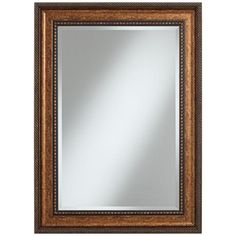 "Alston Marbleized Light Bronze 26 1/2"" x 36 1/2"" Mirror - $149.99 - Marbleized light bronze and gold finish - Beaded inner trim - Braided outer trim -"