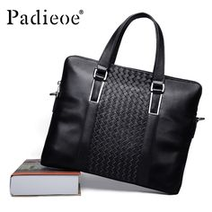 Padieoe Men's New Fashion Knitting Male Briefcase Famous Brand Handbag Totes Genuine Leather Men Bag Business Men Messenger Bag