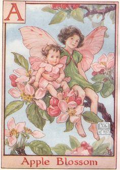 Antique Childrens Print, Fairy Print, 1930s Kids Print, Barker Fairies, Vintage Childrens Decor Print, Apple, Alphabet Fairy