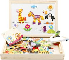 AmazonSmile: Lewo Wooden Educational Toys Magnetic Art Easel Animals Wooden Puzzles Games for Kids: Toys & Games