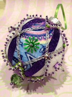 Purple Green and White Beaded Sequin Ornament by KimberlysCraftini, $25.00